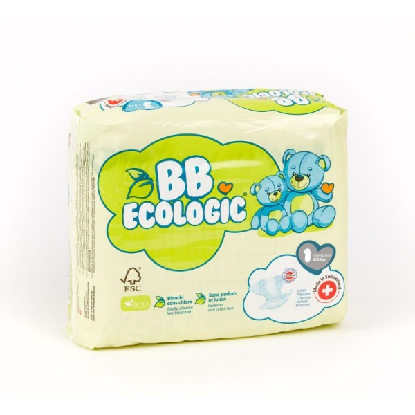 Taille 1 - 2/5kg Couches BB ECOLOGIC NEW-BORN - Photo n°1