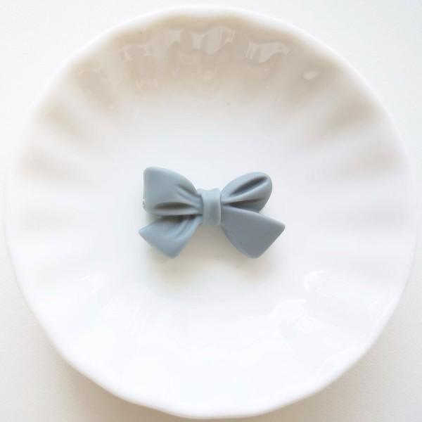Perle en Silicone Noeud Papillon 27mm x 17mm Gris, Creation bijoux - Photo n°1