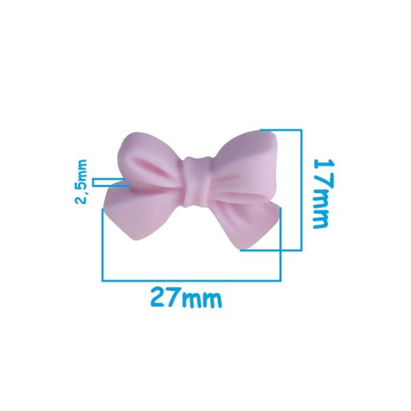Perle en Silicone Noeud Papillon 27mm x 17mm Rose Clair, Creation bijoux - Photo n°2