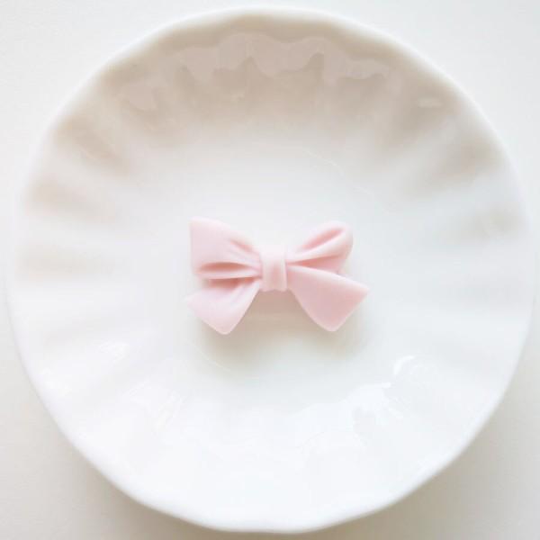 Perle en Silicone Noeud Papillon 27mm x 17mm Rose Clair, Creation bijoux - Photo n°1