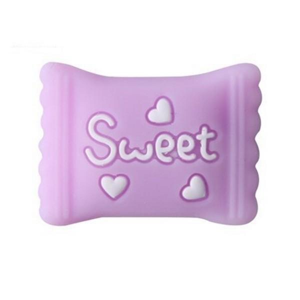 Perle Silicone Bonbon 22mm x 16mm Violet ,Creation bijoux - Photo n°1