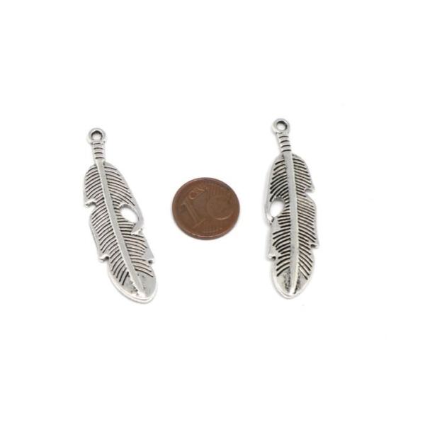 4 Pendentifs Argenté Plume En Métal Ajouré 4,8cm - Photo n°2
