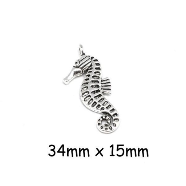 4 Pendentifs Hippocampe Argenté En Métal - Photo n°1