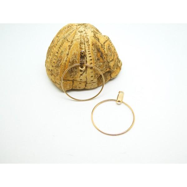 2 Supports boucles d'oreilles type créole forme Rond 29*23mm doré - Photo n°1