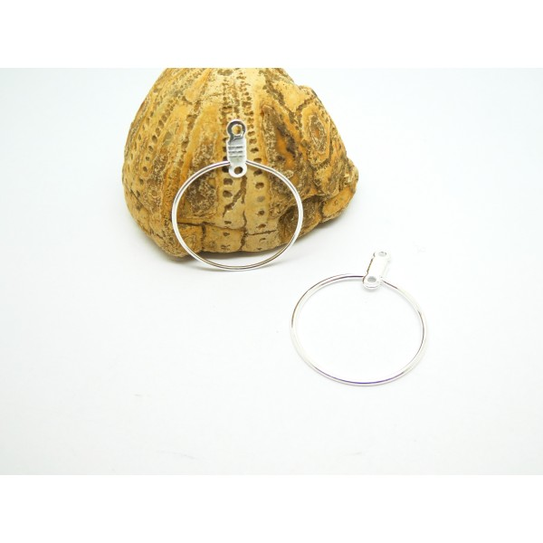 2 Supports boucles d'oreilles type créole forme Rond 29*23mm argent clair - Photo n°1