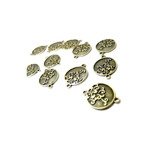 Lot de 10 pendentifs connecteur zenko métal coloris Bronzeref A14294 - Photo n°1
