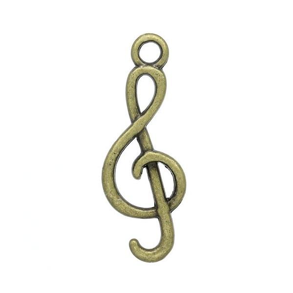 PS1110563 PAX 25 pendentifs note de musique Clés de Sol métal coloris Bronze - Photo n°1