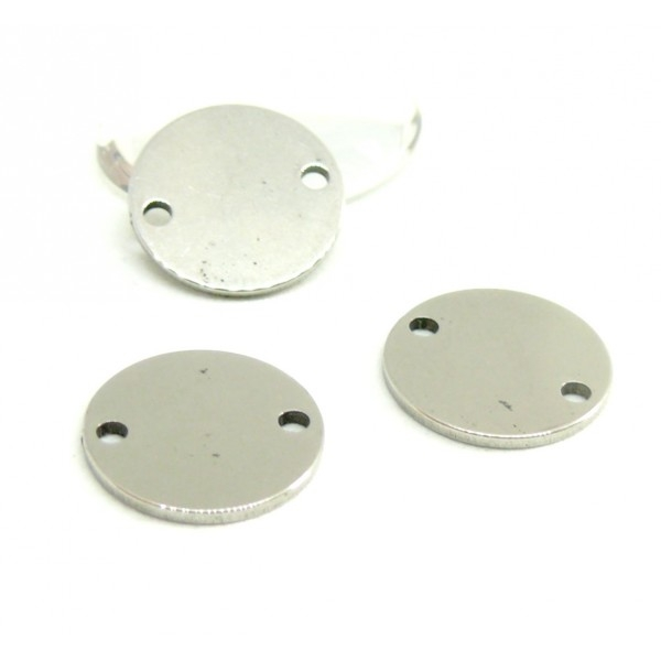 PS110081315 PAX 10 Pendentifs Médaillon connecteurs 15mm en Acier Inoxydable pour bijoux raffinés - Photo n°1