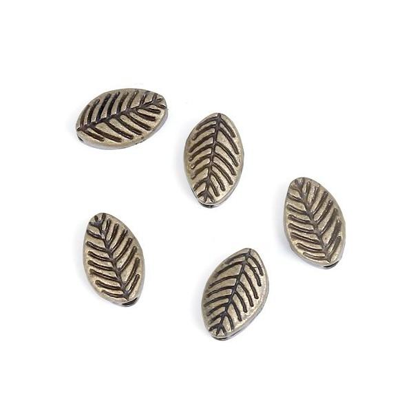 PS1184739 PAX 50 perles intercalaires Feuille 4 par 3mm metal couleur BRONZE - Photo n°1