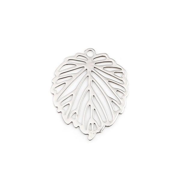 PS110239279 PAX 10 Estampes pendentif Feuille Ajourée cuivre couleur Argent Platine - Photo n°1