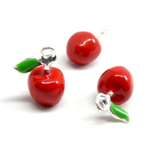 2 pendentifs breloque Pommes Rouges style emaillés 3D pour création de bijoux 140407145119 - Photo n°1