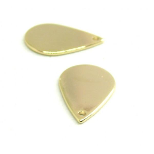 PS110134156 PAX 5 pendentifs Goutte 18 par 11 mm metal couleur Dore 18KT - Photo n°1