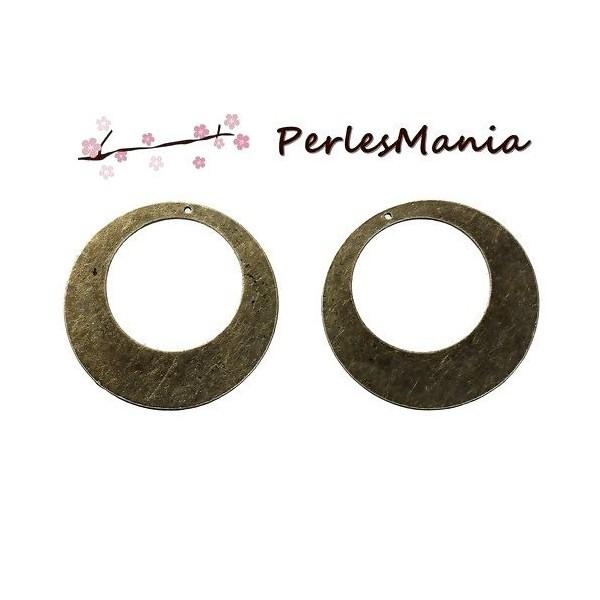 PS1189047 PAX 2 pendentifs créoles disques metal couleur BRONZE 50mm - Photo n°1
