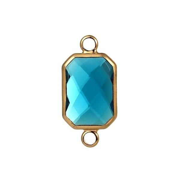 PS110104489 Lot de 2 pendentifs connecteur verre facette Rectangle ARGENT coloris Bleu Lagon - Photo n°2
