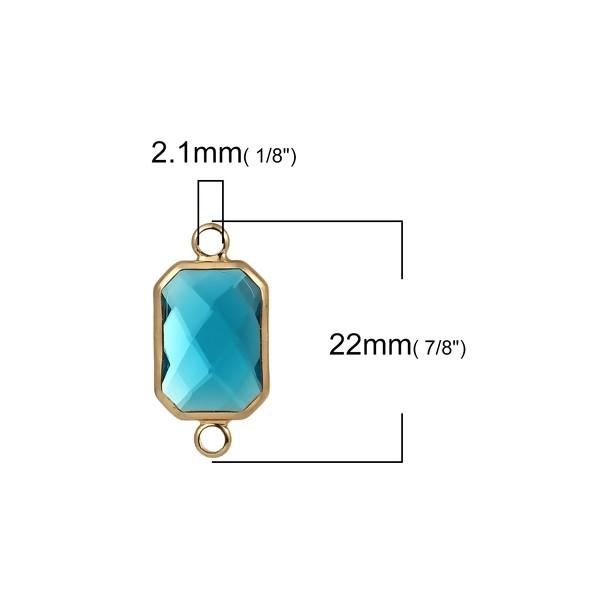 PS110104489 Lot de 2 pendentifs connecteur verre facette Rectangle ARGENT coloris Bleu Lagon - Photo n°3