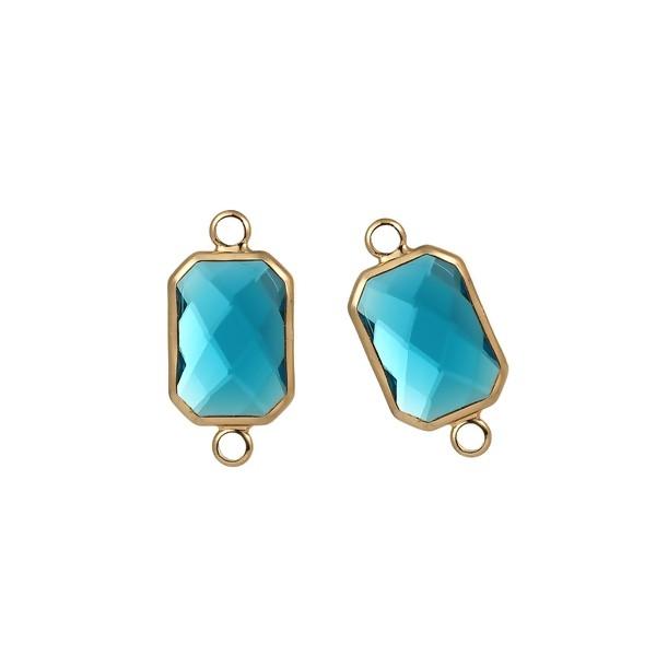 PS110104489 Lot de 2 pendentifs connecteur verre facette Rectangle ARGENT coloris Bleu Lagon - Photo n°1
