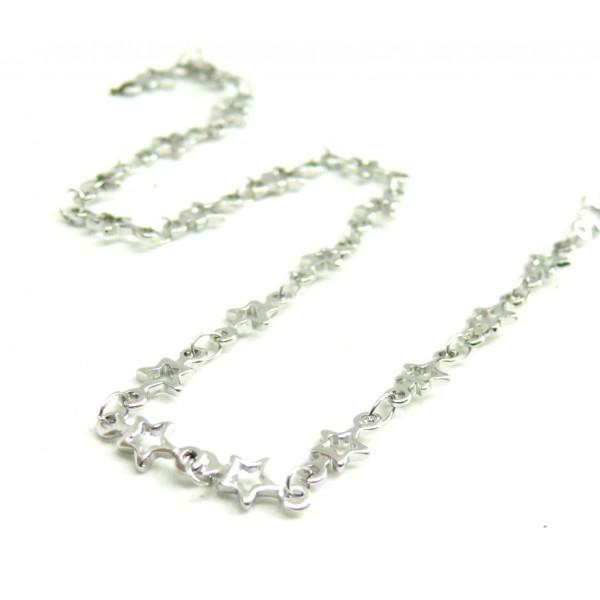 50 cm de Chaine Etoiles laiton Coloris Argent Platine 190129135754 - Photo n°1