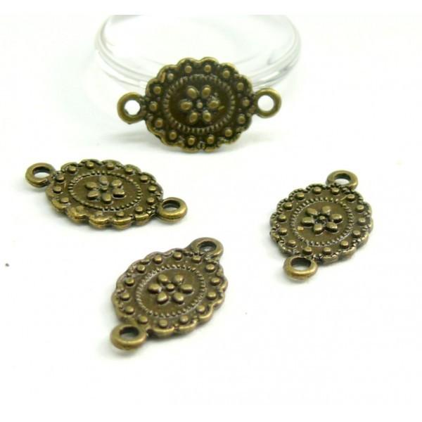 HA14025 PAX 20 pendentifs connecteur Fleur Ovale Vintage métal couleur Bronze - Photo n°1