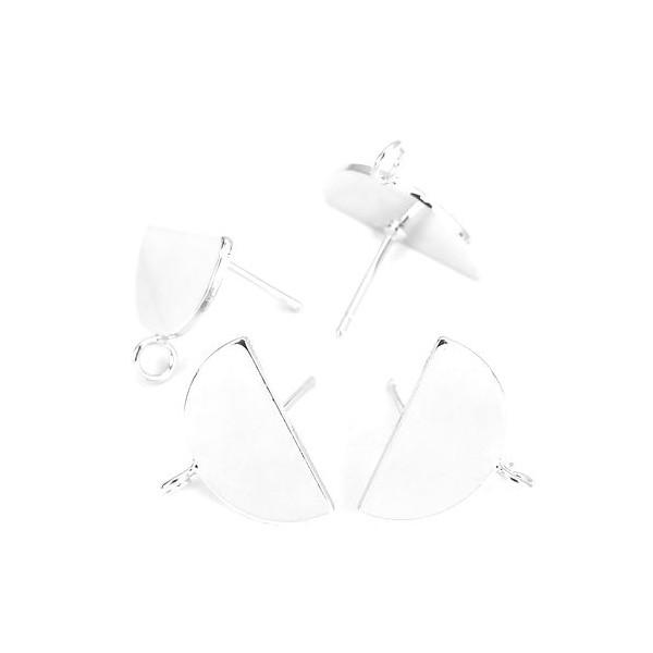 PS110126447 PAX 1 Paire Boucle d'oreille puce Demi cercle avec attache cuivre couleur Argent Platine - Photo n°2