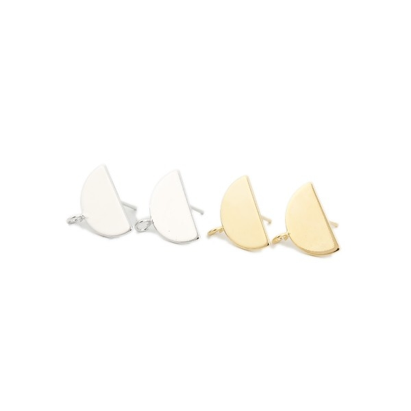 PS110126447 PAX 1 Paire Boucle d'oreille puce Demi cercle avec attache cuivre couleur Argent Platine - Photo n°3