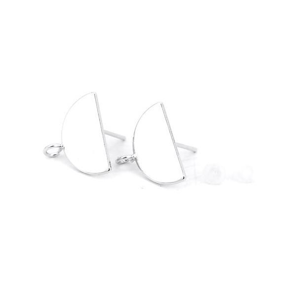 PS110126447 PAX 1 Paire Boucle d'oreille puce Demi cercle avec attache cuivre couleur Argent Platine - Photo n°1