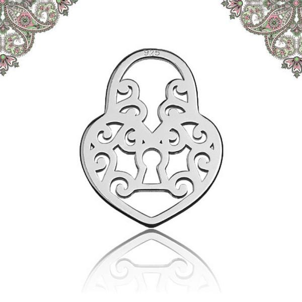 Argent 925-Breloque Coeur cadenas  12,2 mm* 9,2 mm pour chaines et bracelets - Photo n°1