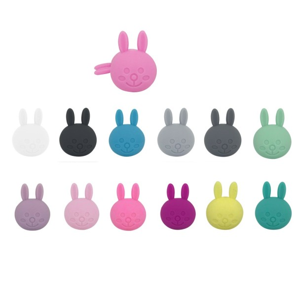 Perle Silicone Lapin 31mm x 23mm Blanc ,Creation bijoux - Photo n°2