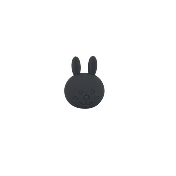 Perle Silicone Lapin 31mm x 23mm noir,Creation bijoux - Photo n°1