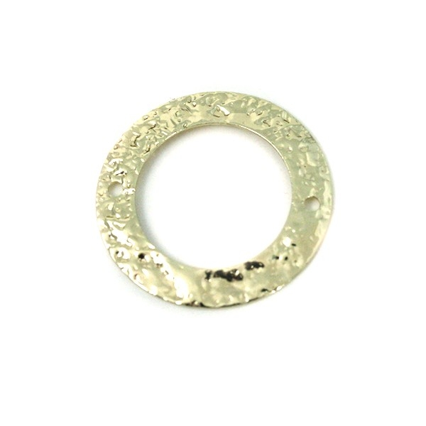 Connecteur disque martelé métal doré 20mm - Photo n°1