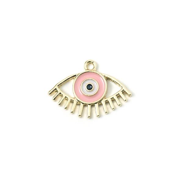 Breloque mauvais oeil doré émaillé rose 23x15mm - Photo n°1