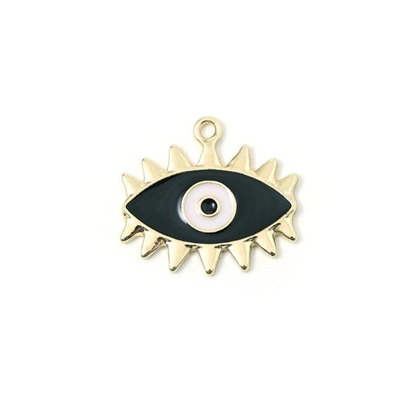 Breloque mauvais oeil doré émaillé noir 23x18mm - Photo n°1