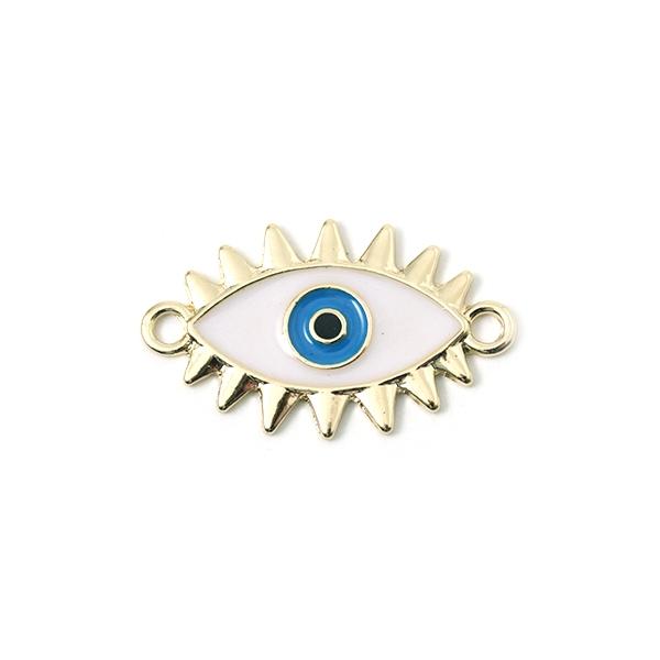 Connecteur mauvais oeil doré émaillé blanc et bleu 23x18mm - Photo n°1