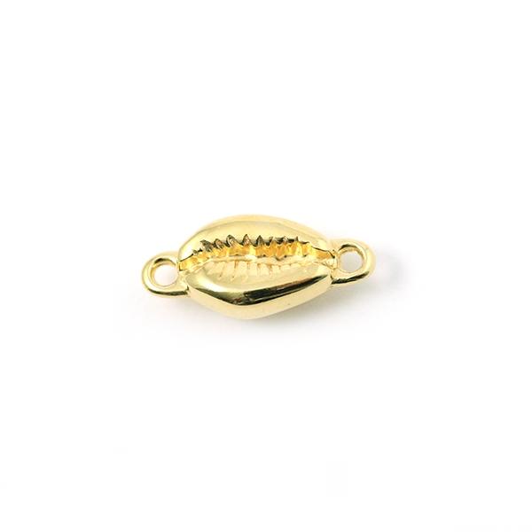 Connecteur coquillage métal doré 14x9mm - Photo n°1