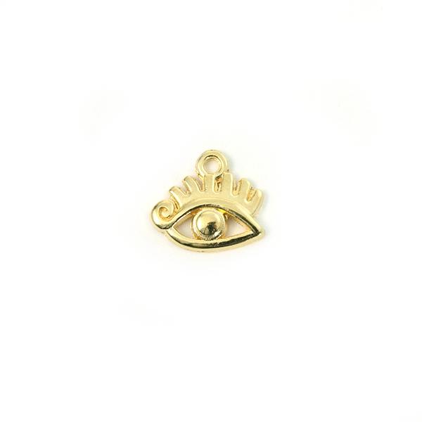 Breloque mauvais oeil métal doré 12x9mm - Photo n°1