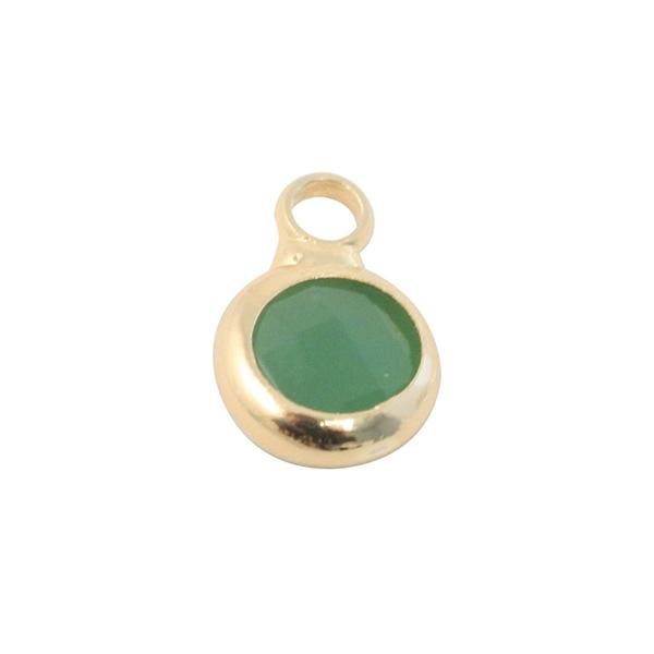 Breloque ronde métal doré et verre vert 10mm - Photo n°1