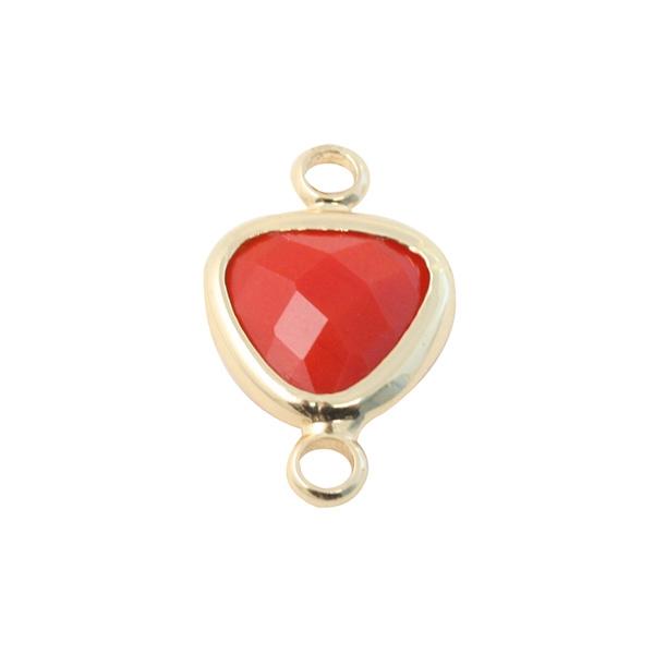 Connecteur goutte métal doré et verre rouge  9mm - Photo n°1