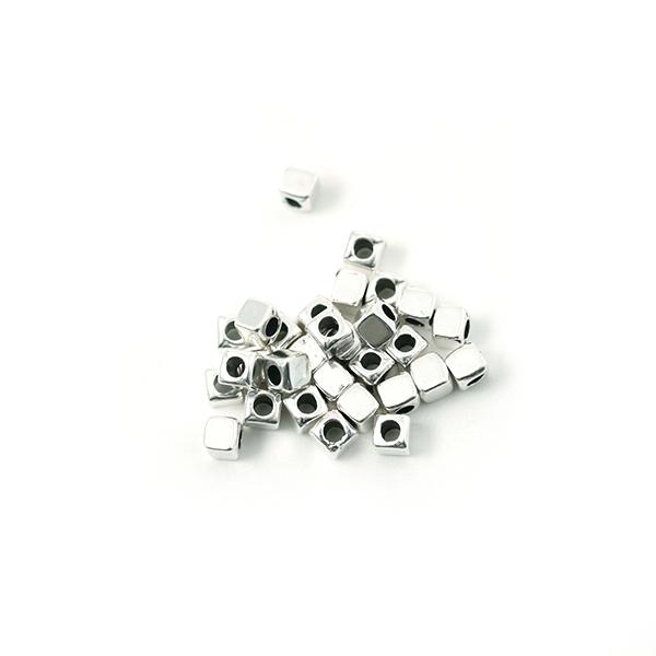 Perle cube métal argenté 3mm - Photo n°1