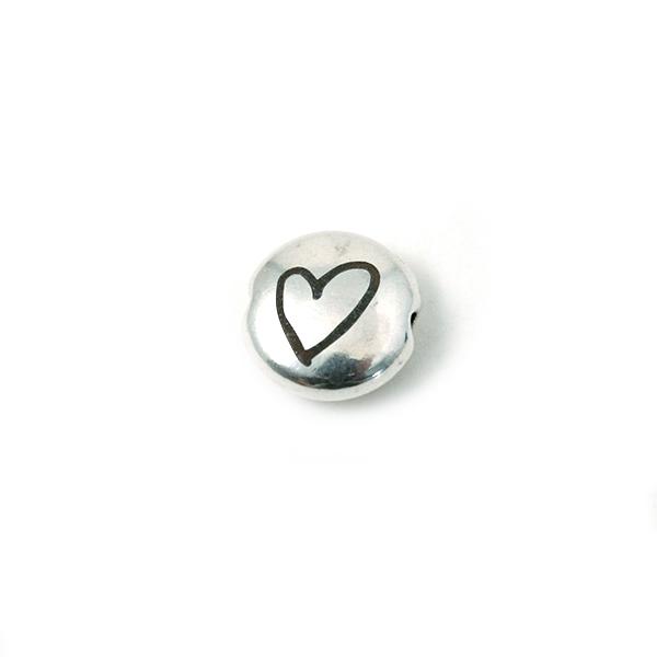 Perle ronde aplatie gravé coeur métal argenté 8mm - Photo n°1