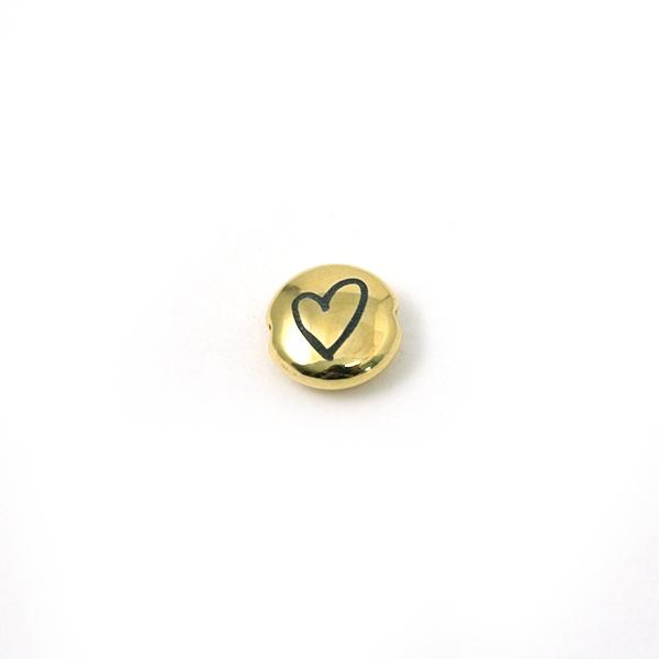 Perle ronde aplatie gravé coeur métal doré 8mm - Photo n°1