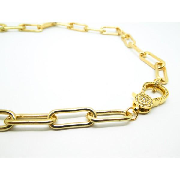 Collier gros maillons ovales à décorer 45cm avec fermoir zircon - laiton doré (USCH20) - Photo n°3