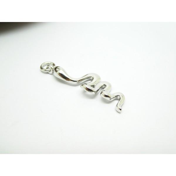 1 Pendentif serpent 28*9mm laiton argenté - Photo n°2
