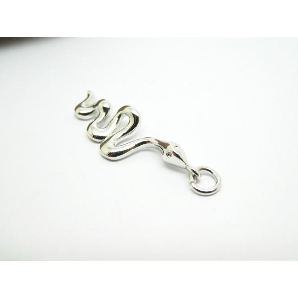 1 Pendentif serpent 28*9mm laiton argenté - Photo n°3
