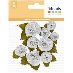 Fleurs en papier - Blanc - 1,3 à 2,3 cm - 9 pcs