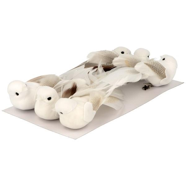 Oiseaux décoratifs blancs - 13 x 3,5 cm - 6 pcs - Photo n°4