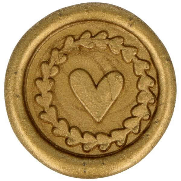 Cachet de cire à coller - 25 mm - Coeur - Doré - 10 pcs - Photo n°1