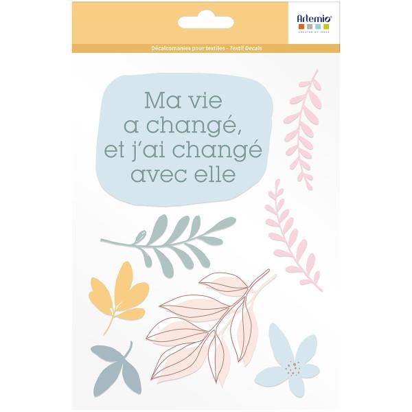 Transfert Textile Thermocollant Artemio Slow Life - Ma vie - 1 feuille - Photo n°1