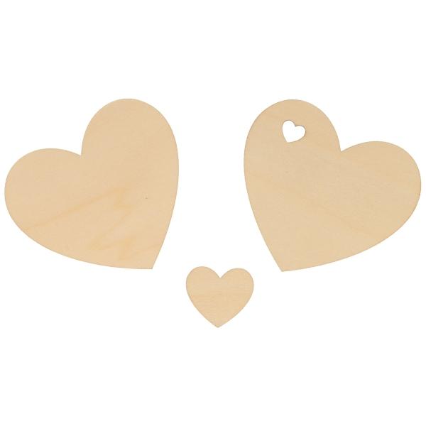 Formes en bois à décorer - Coeur - de 8 à 3 cm - 40 pcs - Photo n°2