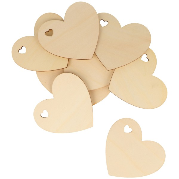 Formes en bois à décorer - Coeur - de 8 à 3 cm - 40 pcs - Photo n°3