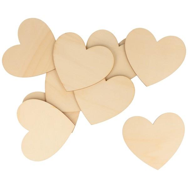 Formes en bois à décorer - Coeur - de 8 à 3 cm - 40 pcs - Photo n°5