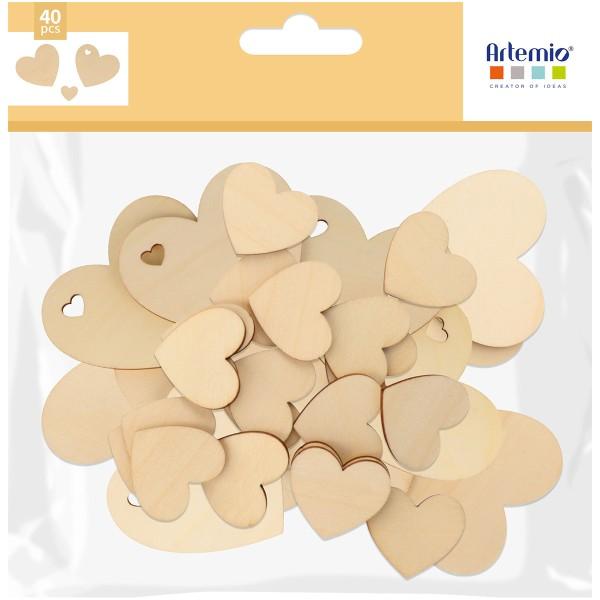 Formes en bois à décorer - Coeur - de 8 à 3 cm - 40 pcs - Photo n°1